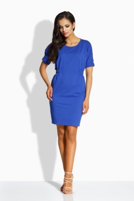 L206 Elegant fitted dress blue