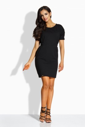 L206 Elegant fitted dress black