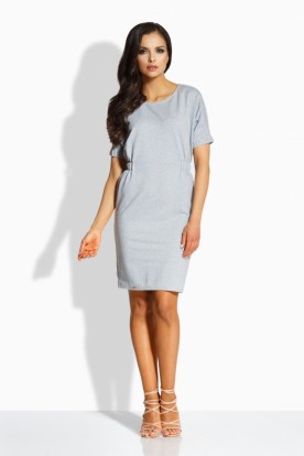 L206 Elegant fitted dress light grey