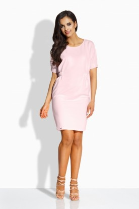 L206 Elegant fitted dress powder pink