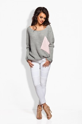 LS166 Long oversize sweater with contrasting pocket light grey-powder pink