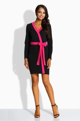 L221 Simple elegant dress black-pink