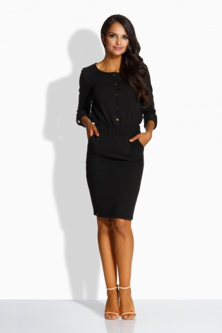 L224 Fitted simply dress black