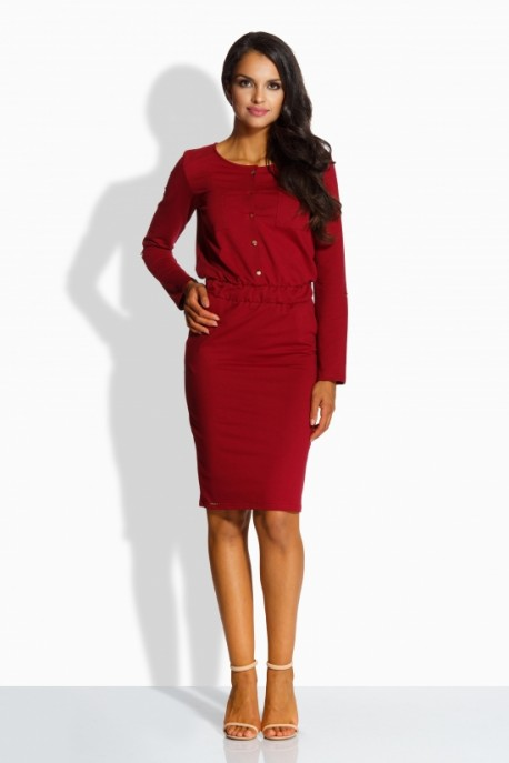 L224 Fitted simply dress crimson