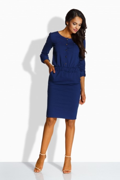 L224 Fitted simply dress navy