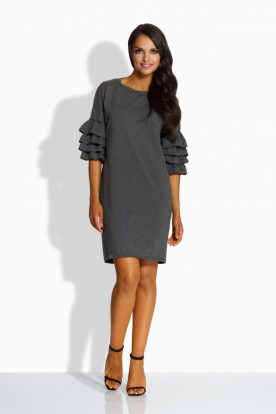 L229 Loose dress in spanish style dark grey