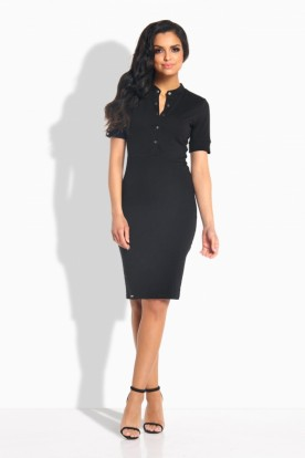 L191 Feminine fitted dress black