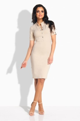 L191 Feminine fitted dress beige