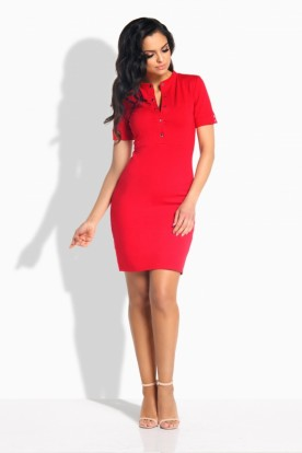 L191 Feminine fitted dress red