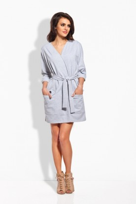 L121 Kimono dress with belt light grey