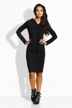 L220 Long fitted dress black