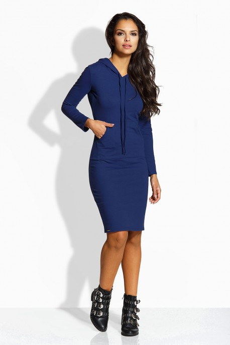 L220 Long fitted dress navy