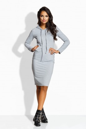 L220 Long fitted dress light grey