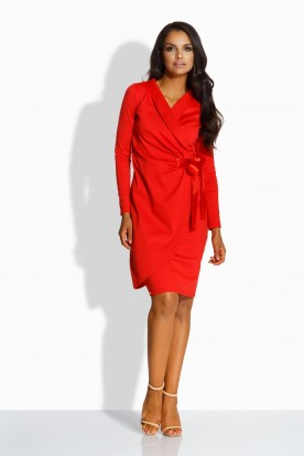 L227 Feminine envelope dress red