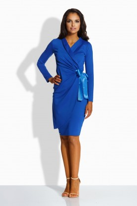 L227 Feminine envelope dress blue