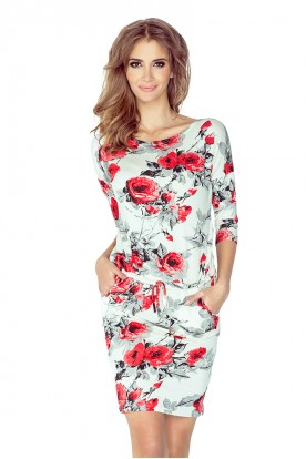 13-73 Sporty dress - Flowers - red + black