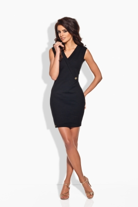 L134 Fitted dress with a gold button black