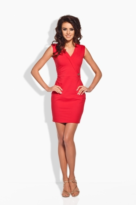 L134 Fitted dress with a gold button red