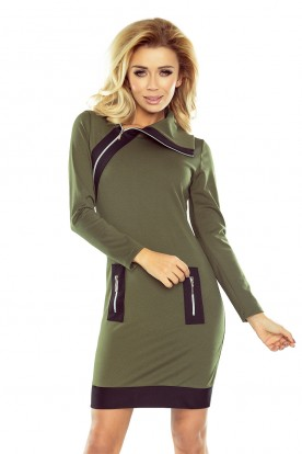 129-7 JUSTYNA dress with three zippers - KHAKI + black zippers