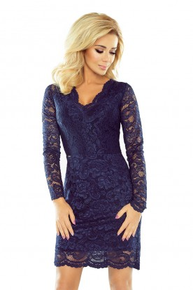 Lace dress with neckline - navy blue 170-2