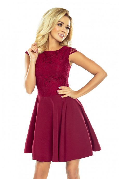 Dress MARTA with lace - Burgundy color 157-3