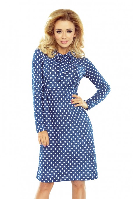 OLA trapezoidal dress with a binding at the neck - polka dots 158-1