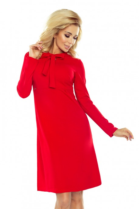 OLA trapezoidal dress with a binding at the neck - red 158-2