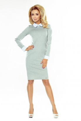 Dress with a white collar - gray 143-4