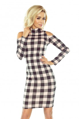 165-1 Dress in black and pink check with semi-golf and holes on the shoulders