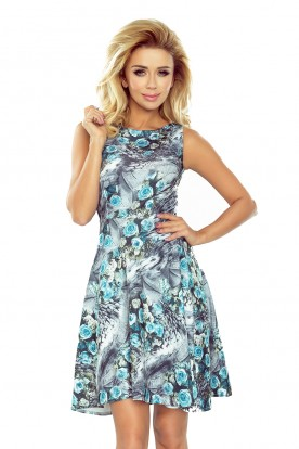 184-1 Flared dress in blue roses
