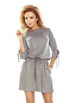 176-1 EWA - sports dress with bindings on the sleeves - gray
