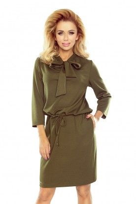 177-1 ZUZIA dress with a binding at the neck - KHAKI