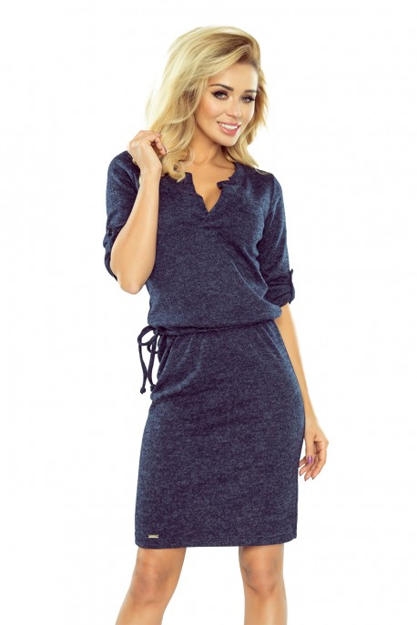 161-8 AGATA - dress with a collar - navy blue