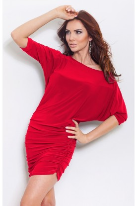 Pleated dress with cut kimono - Red 16-3
