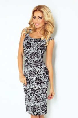 Fitted dress - black + white flowers 53-24