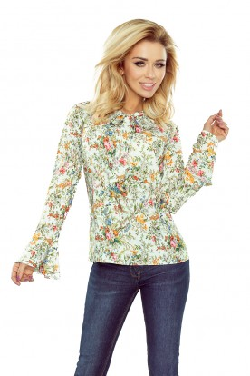 181-1 Blouse with flared sleeve - ecru flowers