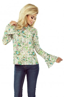 181-2 Blouse with flared sleeve - pastel pink - flowers