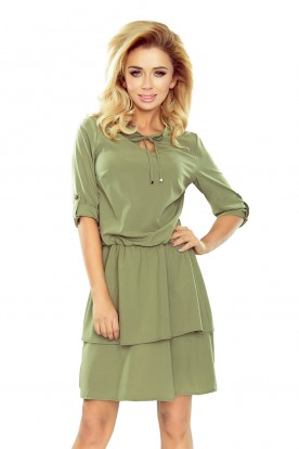 182-1 TINA Dress with two flounces - light khaki