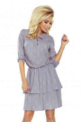 182-2 TINA Dress with two flounces - light gray + neon patterns