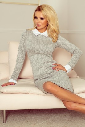 Dress with a white collar - gray brick 143-3