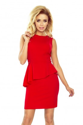 178-1 Asymmetrical dress with frill - red