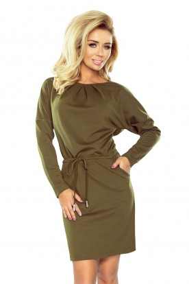 183-1 IZA Dress with three pleats at the neck and long sleeves - khaki