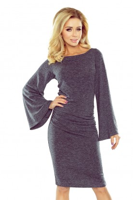 185-1 Gray sweater with flared sleeve