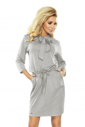 177-3 ZUZIA dress with a binding at the neck - grey