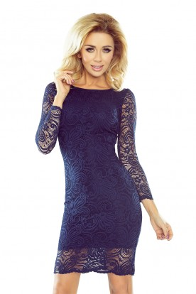 Dress with lace - navy blue 174-1