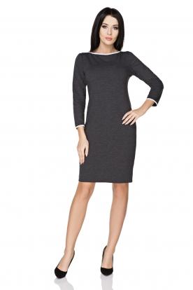 Tamsiai pilka suknelė su kaspinėliu