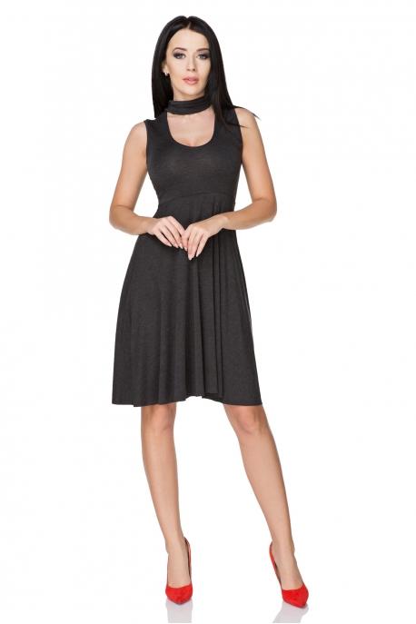 Tamsiai pilka suknelė su raišteliais