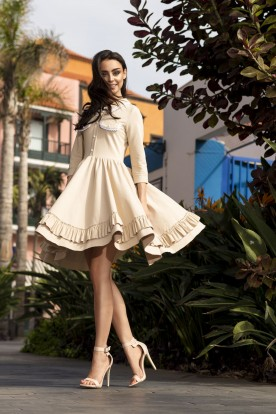 Casual dress with collar L235 beige