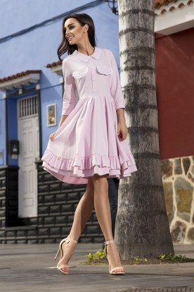 Casual dress with collar L235 powder pink