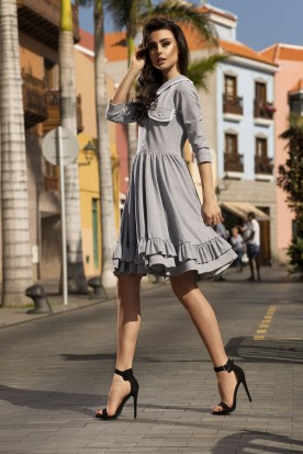 Casual dress with collar L235 light grey